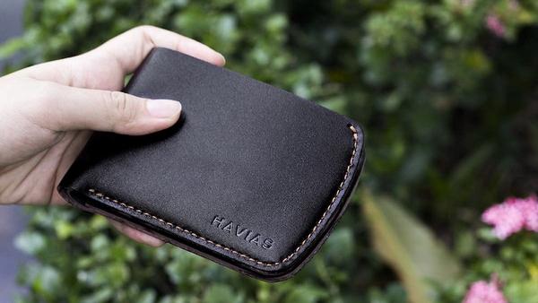 Bóp ví da thật nam nữ HAVIAS Ví da Dart Handcrafted Wallet Nâu