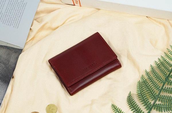 Ví 3 gấp nam nữ Heart3 Mini Handcrafted Wallet da thật may thủ công màu đỏ nâu