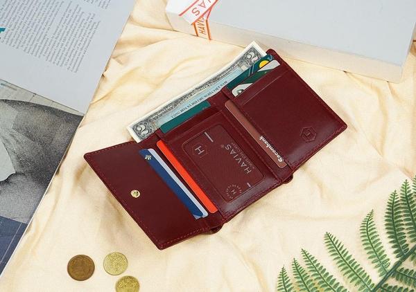Ví 3 gấp nam nữ Heart3 Mini Handcrafted Wallet da thật may thủ công màu nâu đỏ