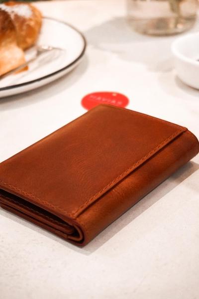 Ví 3 gấp nam nữ Heart3 Mini Handcrafted Wallet da thật may thủ công màu nâu