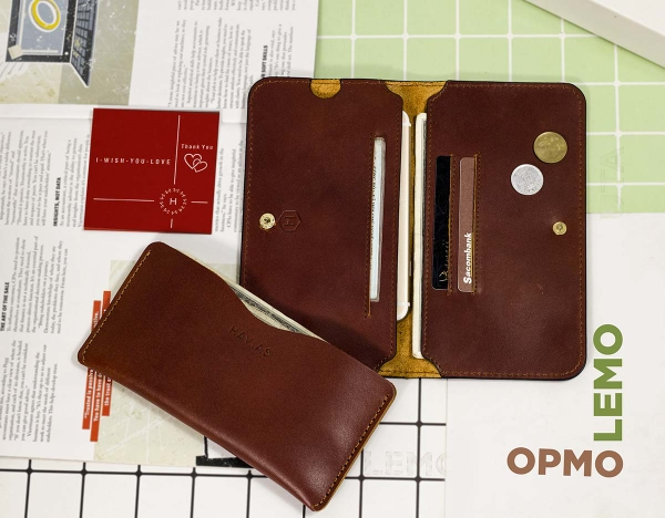 Couple Ví Opmo & Lemo Handcrafted Wallet Red Brown