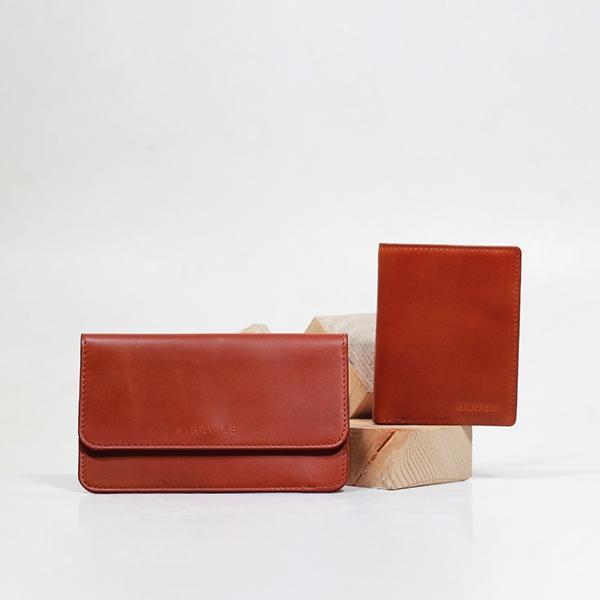 Bóp ví da thật nam nữ HAVIAS Couple Ví The Momo & Verzip Wallet Red Brown