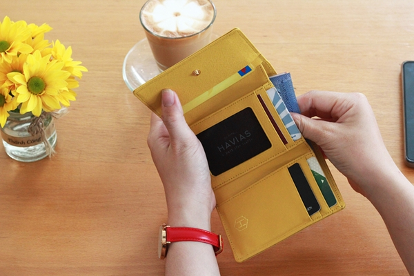 Bóp ví da thật nam nữ Da Saffiano Heart3 Gold Mini Wallet