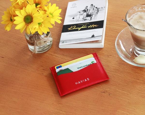 Bóp ví da thật nam nữ HAVIAS Couple Ví Heart2 Mini Wallet & Mini HAVIAS Pie Red