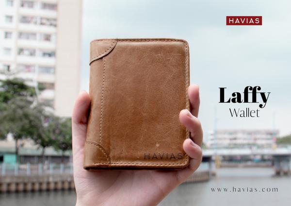 Ví da đứng Laffy Handcrafted Wallet Vàng Bò