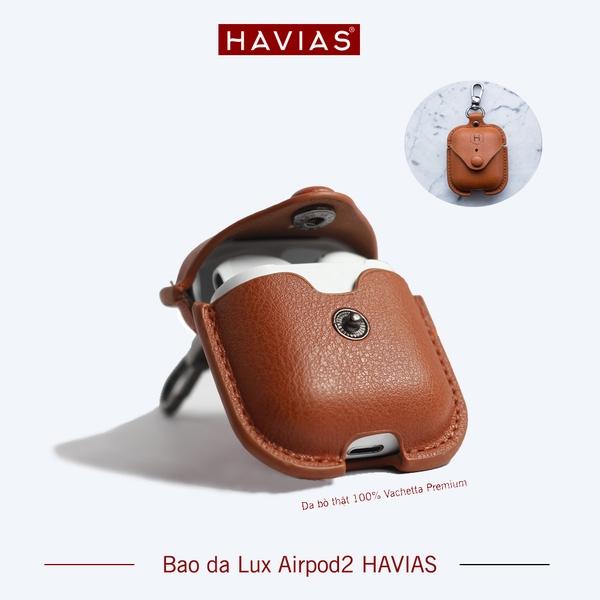 Bao da airpod thật chất lượng cao Havias màu nâu