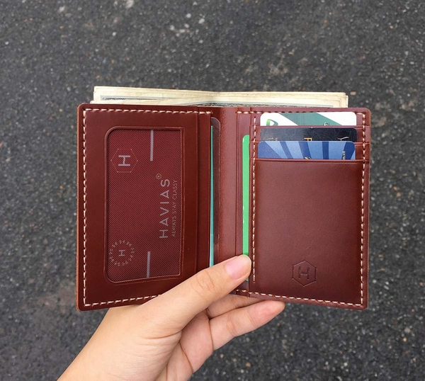 Couple Ví Venuta & Venumi Handcrafted Wallet Red Brown