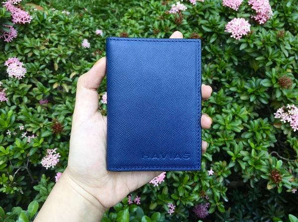 Bóp ví da thật nam nữ Ví Da Gapple Mini Wallet Xanh Navy