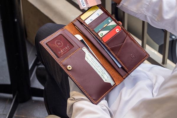 ví da cầm tay venuta2 havias ví màu đỏ rượu