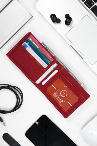 Bóp ví da thật nam nữ HAVIAS Ví vải Modern Fabric Wallet Đỏ