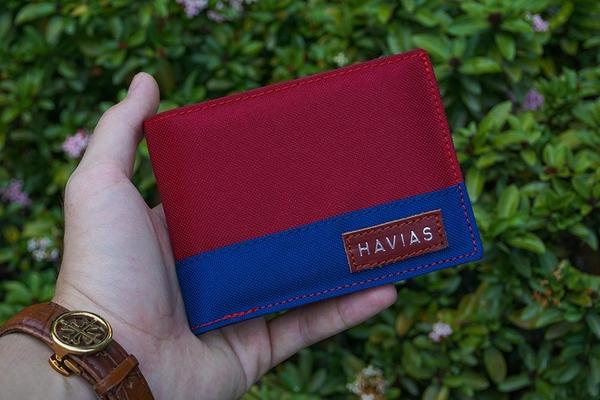 Bóp ví da thật nam nữ HAVIAS Ví vải Modern Fabric Wallet Đỏ Xanh dương