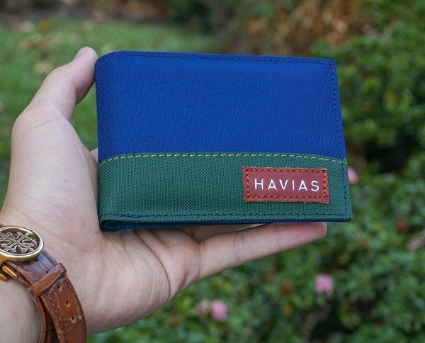 Bóp ví da thật nam nữ HAVIAS Ví vải Modern Fabric Wallet Xanh dương Xanh rêu
