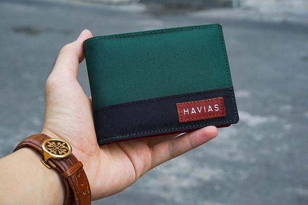 Bóp ví da thật nam nữ HAVIAS Ví vải Modern Fabric Wallet Xanh rêu Đen