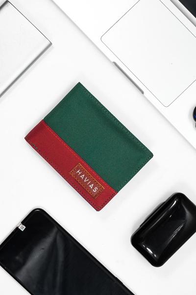 Bóp ví da thật nam nữ HAVIAS Ví vải Modern Fabric Wallet Xanh rêu Đỏ