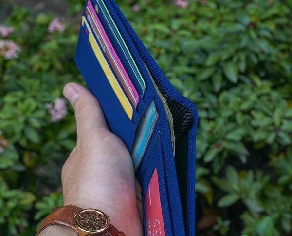 Bóp ví da thật nam nữ HAVIAS Ví vải Modern Fabric Wallet Xanh dương