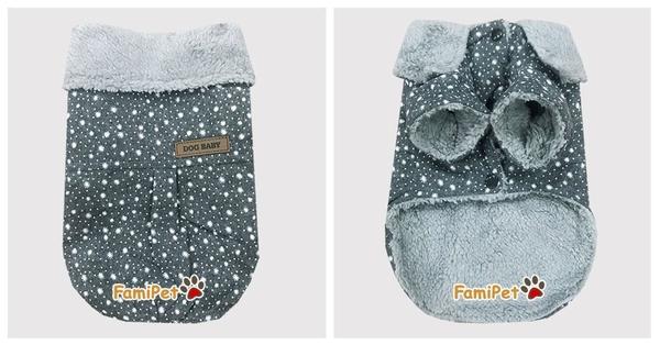 Áo Bông Cho Chó Hình Bông Tuyết Màu Xám Đậm