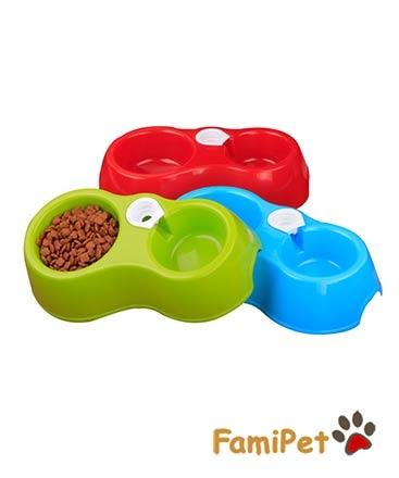 Bát Nhựa Đôi Cấp Nước Cho Chó Mèo