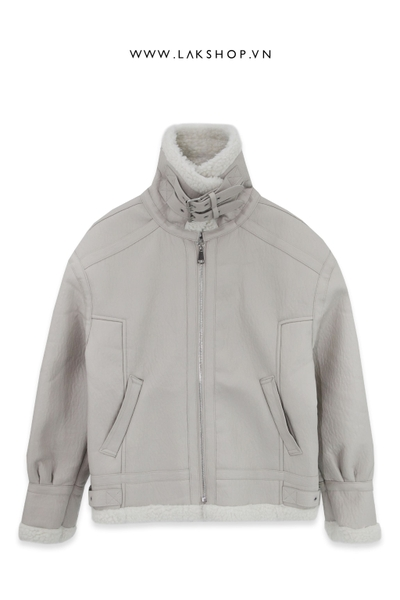 White Leather Reversible Shearling Jacket ds10