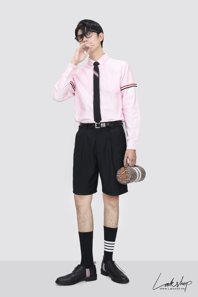 Thom Browne Red University Stripe Grosgrain Armband Oxford Shirt