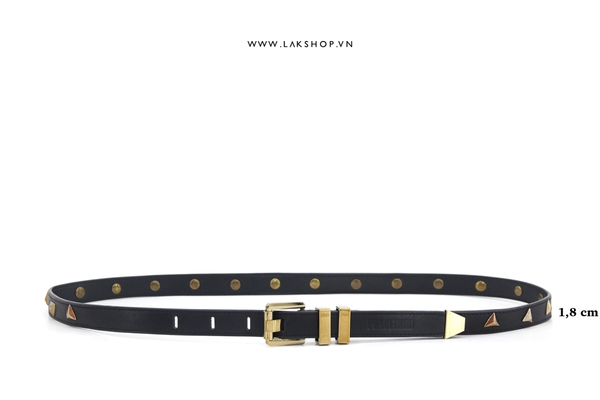 PeaceBird Gold Stud Real Leather Belt (1,8cm - Chính hãng)
