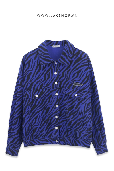 Blue Zebra Print Oversized Jackets ds30