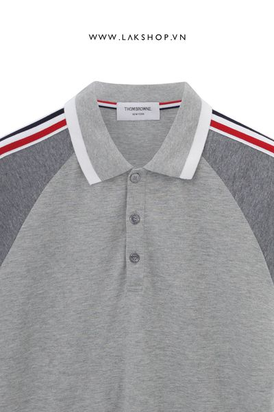 Thom Browne Pique Tape Grey Polo Shirt