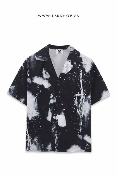 Galaxy Black / White Oversized Short-Sleeve Shirt