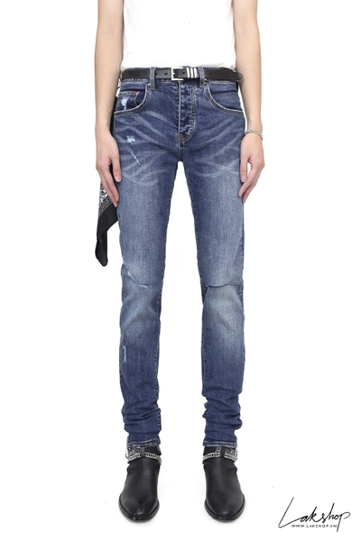 Amiri Blue Denim Slit Knee Jeans