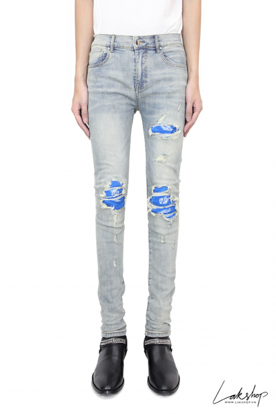 Amiri Denim 'mx1' Blue Bandana Ripped Skinny Jeans 1:1 ts1