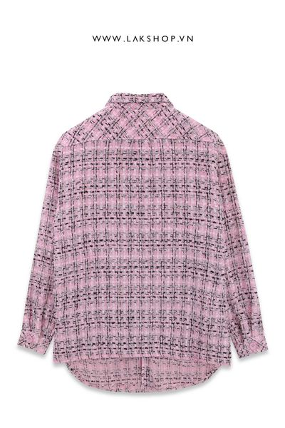 Charlie Luciano Flannel Pink Tweed Oversized Shirt