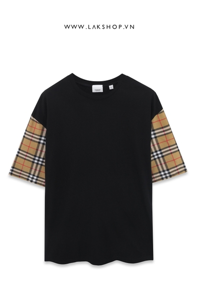 Burberry Checked Sleeves Black T-shirt (Bản đẹp)