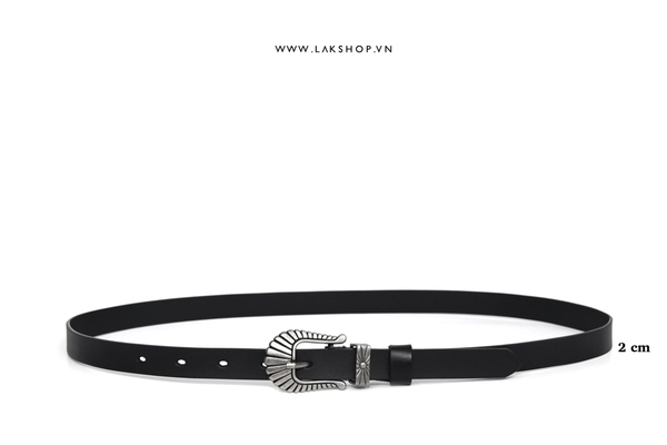 Shell Buckle Leather Belt (2cm)