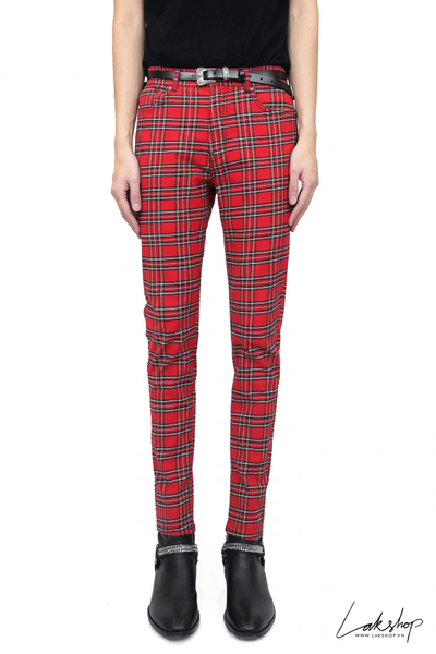 H&M Red Checked Trousers Skinny Fit (Chính Hãng) ds20