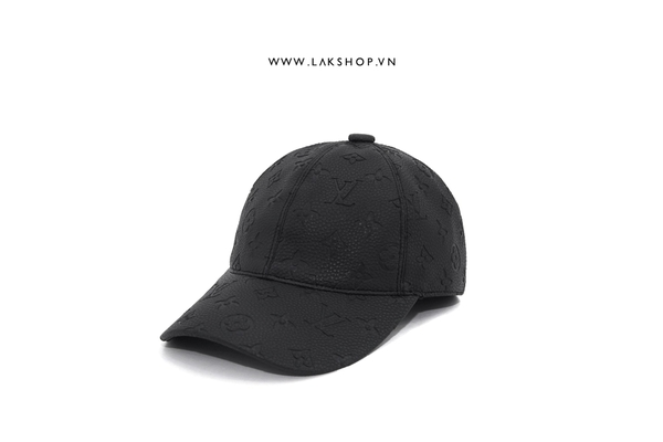 Louis Vuitton Monogram Black Leather Baseball Cap