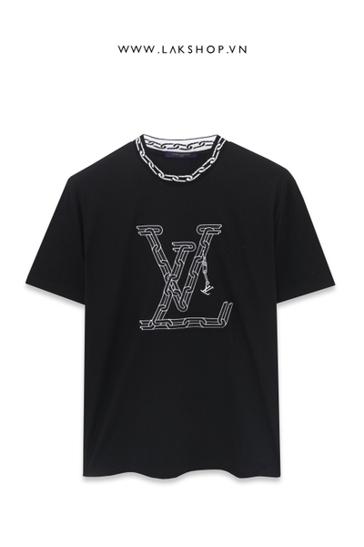 Louis Vuitton Black Logo With Chain Jacquard Rib Collar T-shirt
