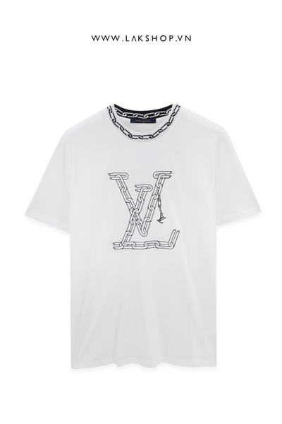 Louis Vuitton White Logo With Chain Jacquard Rib Collar T-shirt