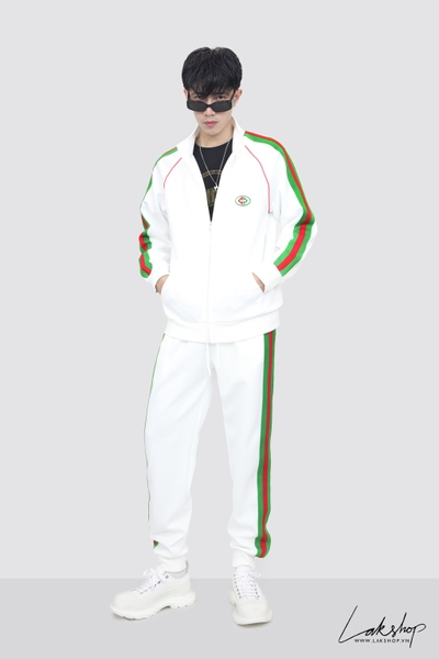 Gucci White/Green Logo Track Jacket ds20