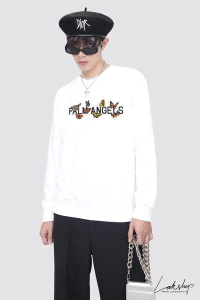 Palm Angels Butterfly Print Sweatshirt in White