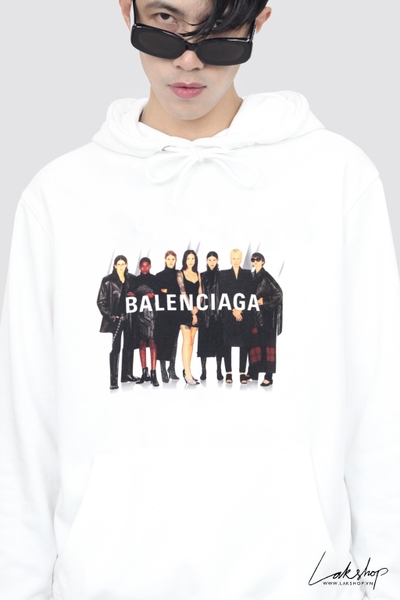 Balenciaga White Real Logo Oversized Hôded ds20