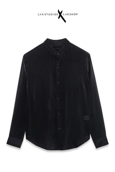 LakStudios Black Satin Collar Shirt