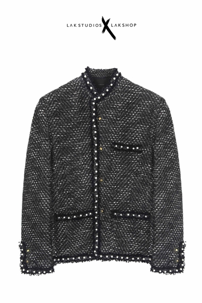 Áo Lak Studios Glitter Grey Tweed with Peal Trim Jackets