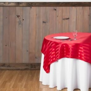 72 in. Square Striped Satin Overlay Red