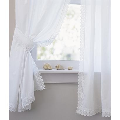 Pointed Lace Edging Perma-Press Rod Pocket Curtains
