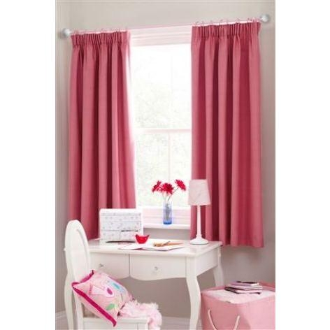 Mid Pink Pencil Pleat Blackout Lined Curtains