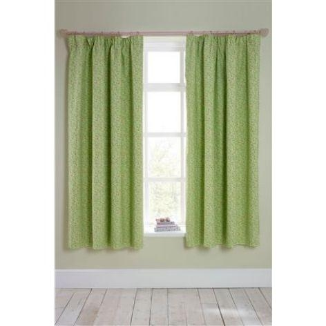 Green Ditsy Pencil Pleat Blackout Curtains