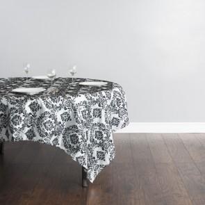 85 in. Square Flocking Damask Overlay Silver
