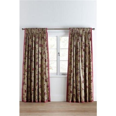 Plum Sateen Blossom Print Pencil Pleat Curtains