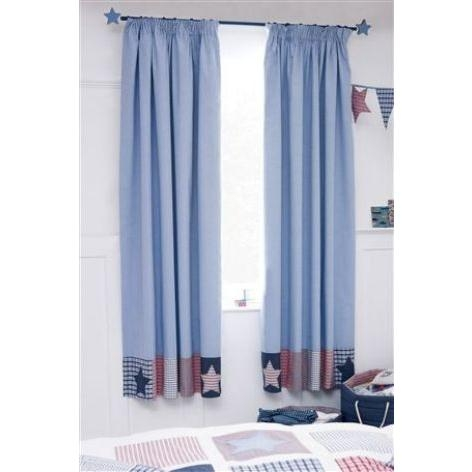 Patchwork Star Pencil Pleat Blackout Lined Curtains