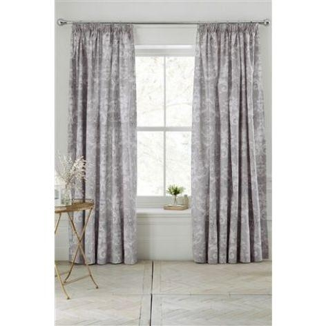Damask Lined Pencil Pleat Curtains