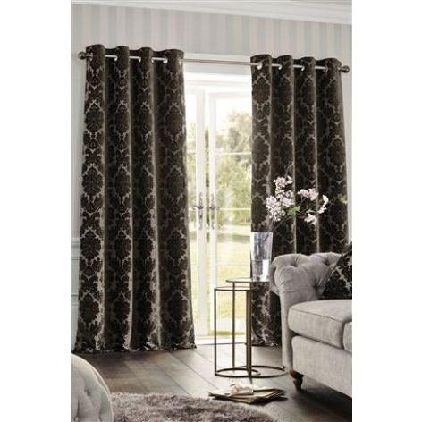 Chenille Damask Eyelet Curtains